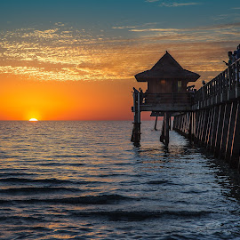Pier Review by David Long - Landscapes Beaches ( naples, sunset, florida, pier, fishing )