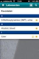 Screenshot of Medische labwaarden
