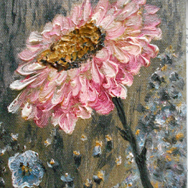 A Flower for You by Rhonda Lee - Painting All Painting ( macro, texture, art, original, rokinronda, daisy, pink, painting, design, flower, oil )