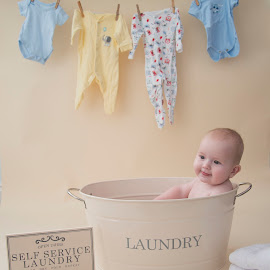 Laundry day! by Michelle Bean - Babies & Children Babies ( child, baby clothes, baby, washing, laundry, boy )