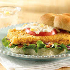Spicy Fish Sandwich with Peach Remoulade