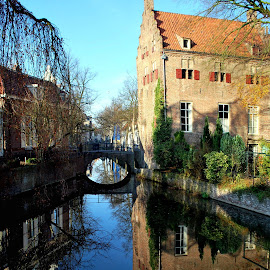 Amersfoort reflection 2 by Anita Berghoef - Buildings & Architecture Homes ( home, reflection, winter, bridge, architecture, canal )