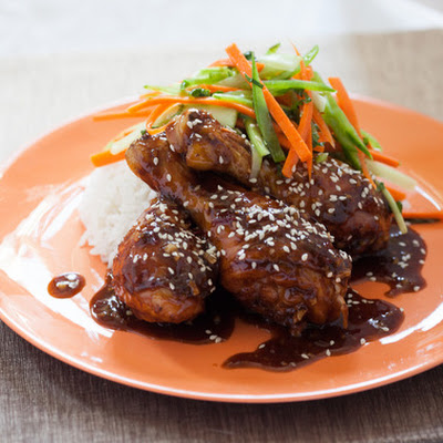Sweet & Sour BBQ Drumsticks with Snow Pea, Carrot & Celery Salad