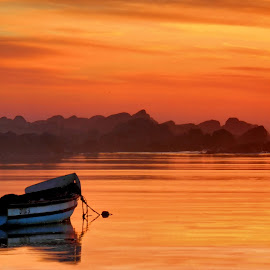 Peace in gold by Adéle van Schalkwyk - Transportation Boats ( sunset, baot, sea, ocean, rocks, oranje )