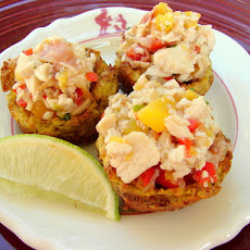 Mofongo Cups with Chicken Mango Salad