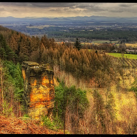 from Dědovy kameny view II by Petr Klingr - Landscapes Mountains & Hills ( stones, hdr     clouds     trees     formation )