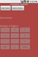Screenshot of Remember Numbers