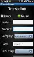 Screenshot of My Money Manager