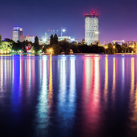 Night full of colours by Andrei Laurenţiu Solomon - City,  Street & Park  Night ( canon, solomon, skyline, park, reflections, bucuresti, romania, lake, cityscape, nightscape, city, andrei, bucharest, night, skytower, herastrau )