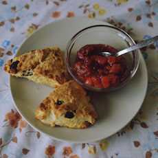 Golden Raisin Scones with Apricot, Plum and Rose Petal Jam