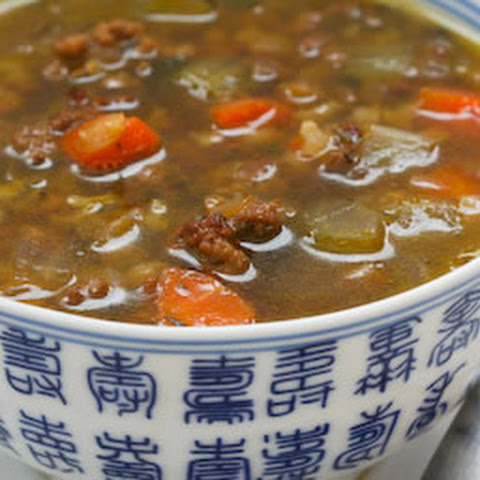 Lentil Soup with Ground Beef and Brown Rice