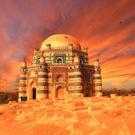 Uch Sharif  by Agha Ahmed - Buildings & Architecture Statues & Monuments ( pakistan, building, sunset, cemetery, architecture )