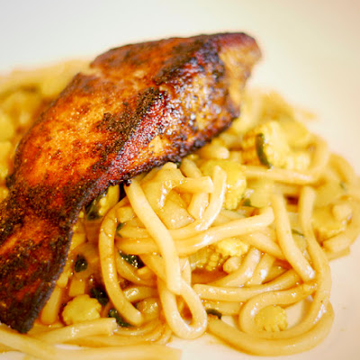 Curry Crusted Salmon with Singapore Noodles