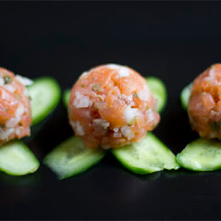Salmon Gravlax Tartare On Crisp Potato Slices Recipes — Dishmaps
