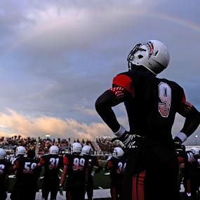 Rainbow by Eric Smith - Sports & Fitness American and Canadian football ( clouds, high school, texas, sports, uil, sport, the rig, d3s, dawson, football, sunset, pearland, 24-70, nikon, light, rainbow, rain )