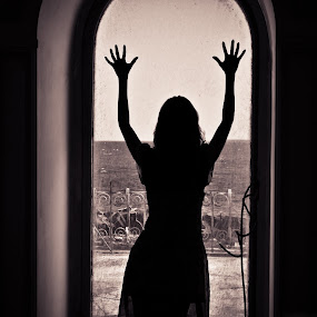 Longing for the sea by FIWAT Photography - Digital Art People ( black and white, silhouette, windows )