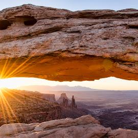 Mesa Arch at sunrise by Jeffrey Genova - Landscapes Sunsets & Sunrises ( moab, arch, utah, southwest, sunrise, mesa arch, sun )