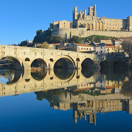 River Orb at Bezies by Paul Atkinson - Buildings & Architecture Bridges & Suspended Structures ( languedoc, winter, beziers, france, architecture, bridge )
