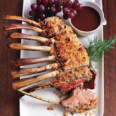 Roast Lamb with Lamb Sausage Crust and Fresh Grape Pan Sauce