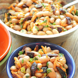 Bean Salad with Fried Kalamata Olives