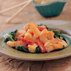 Singapore Spicy Shrimp Over Spinach
