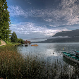 Lake Annecy - France by Kim  Schou - Landscapes Travel ( clouds, boats, lake annecy, france, morning, lac )
