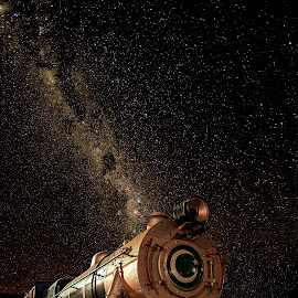 Locomotive rising ! by Agha Ahmed - Transportation Trains ( milkyway, railway, engine, stars, railroad, locomo, train, night, express, nightscape )