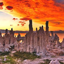Sunset on Fire, Mono Lake by Patrick Flood - Landscapes Caves & Formations ( canon, highway 395, eastern sierras, lee vining, photosbyflood, moonscape, yosemite, mono lake, brine, lake, tufa, landscape )