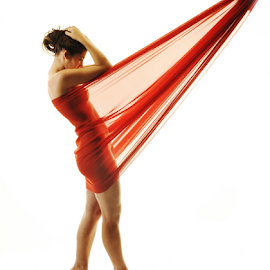 Wrapped in Fabric by Vineet Johri - Nudes & Boudoir Artistic Nude ( vkumar, girl, woman, wrapped in fabric, madam bink, white background, red fabric )