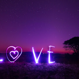 Love by Bernard Pieterse - Abstract Light Painting ( love, sky, tree, purple, stars, twilight, pink, night, dusk, painting, light )