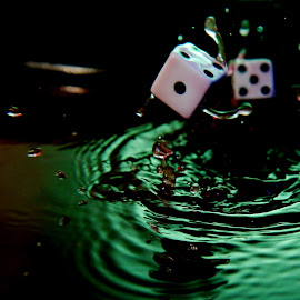 1 and 5 dice splash by Anthony Doyle - Artistic Objects Other Objects
