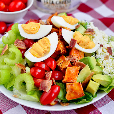 Buffalo Chicken Cobb Salad with Buffalo Deviled Eggs