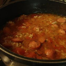 Rice and Hot Dogs Soup