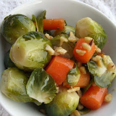 Steamed Brussels & Carrots With Tangy Maple Sauce