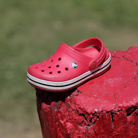 Left Behind by Tim Davies - Artistic Objects Clothing & Accessories ( child, post, red, crimson, clog, croc, shoe,  )