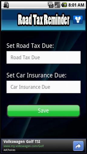 Road Tax Reminder