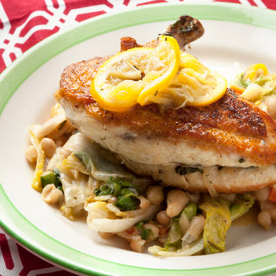 Chicken with White Beans, Escarole & Meyer Lemon