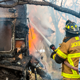 Trailer fire by Timothy Bergman - News & Events Disasters ( structure fire, fireman, fully involved, firefighting, fire )