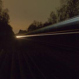 The Night Train by Andy Dow - Transportation Trains ( lights, train, nights, night, tracks )