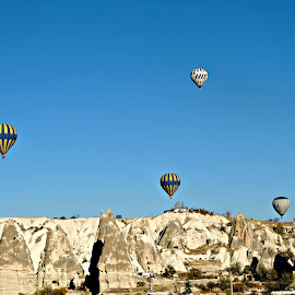 Hot-air Balloons  by Tamsin Carlisle - Transportation Other ( erosion, fairy, rock, valley, balloon, float, flight, fly, hot, air, turkey, chimney, cappadocia, formation,  )
