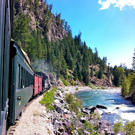 Outside the Window of the Durango - Silverton Train by MaryAnn Sei - Transportation Trains ( mountain, novice, novices only, train, river,  )