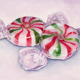 Peppermint Candy by Veronica Blazewicz - Painting All Painting ( holiday, seasonal, xmas, candy, food, art, christmas, peppermint, painting, artwork )
