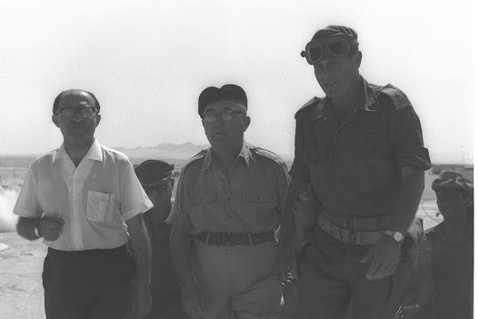 Prime Minister Levi Eshkol accompanied by Menachem Begin and O.C. Southern command General Gavish visiting troops in Sinai