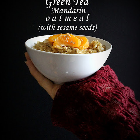 Mandarin Green Tea Oatmeal with Sesame Seeds (Lucky Lunar New Year!)