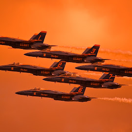 Evening Angels by Greg Harcharik - Transportation Airplanes ( evening blue angels pensacola florida,  )