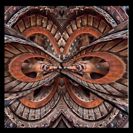 Abstract in Rust by Jackie Stoner - Abstract Patterns ( circles, shades of brown and grey, skewed, rust, rusty wheel )