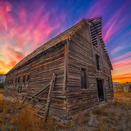 Sunset at Haynes by Drew Desharnais - Landscapes Sunsets & Sunrises ( clouds, farm, susnet, ranch, sky, barn, grass, wide angle, vibrant, dusk )