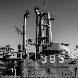by William Stansbury - Transportation Boats ( guns, black and white, california, 383, boat, submarine, san francisco,  )
