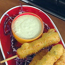 Kicked Up Corn Dogs with Spicy Green Onion Dipping Sauce