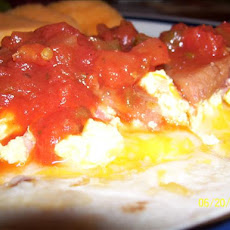 Bean, Egg and Ham Breakfast Tostada